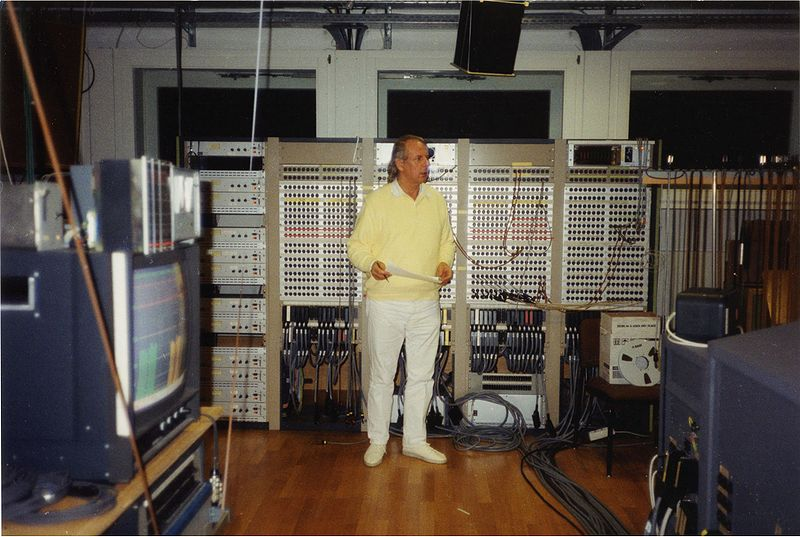 Karlheinz Stockhausen in the Electronic Music Studio of WDR, Cologne, in 1991
